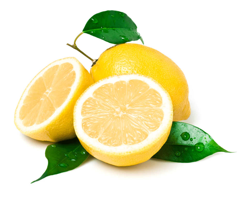 Two slices of lemon and a whole lemon sitting on a white background, relating to the terpene limonene found in CBD.