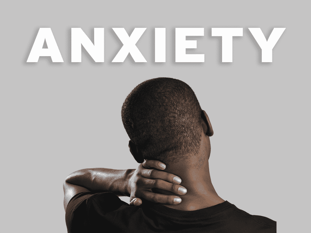 Dragonfly CBD Anxiety Blog featuring a man massaging his own neck worringly, with the word anxiety above.