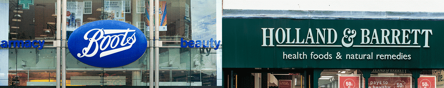 Image of boots storefront sign and Holland and barrett sign, where you can buy Holland and Barrett CBD