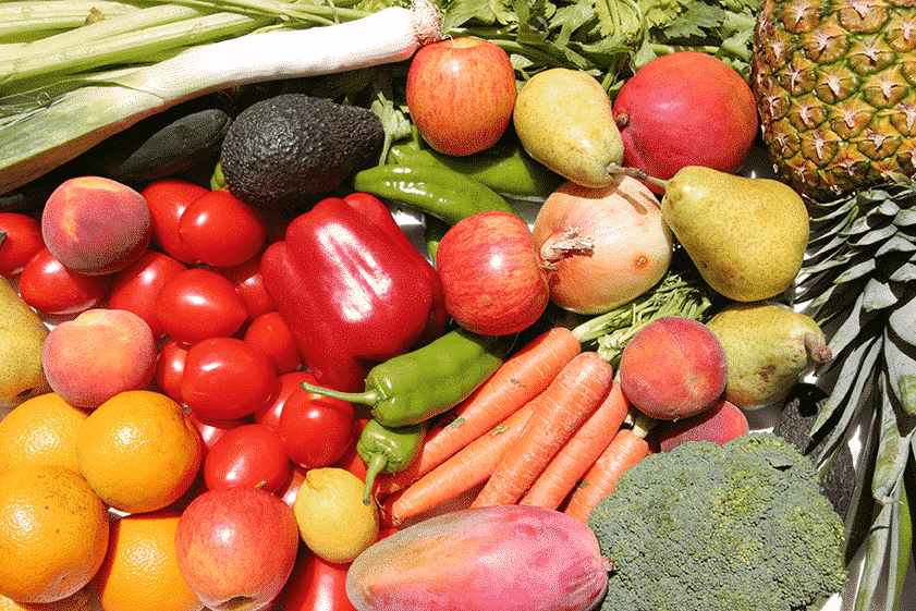 Fruit and vegetables containing flavonoids