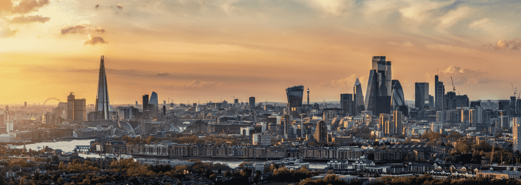 Panoramic, elevated view to the skyline of London during a autumn sunset, United Kingdom