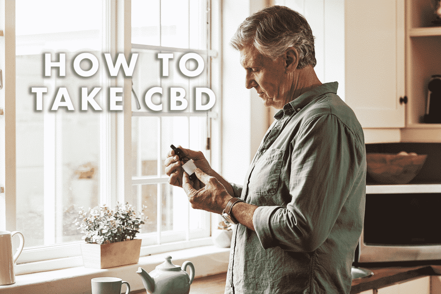 Cropped shot of a relaxed senior man preparing a cup of tea with CBD oil inside of it at home during the day, showing how to take CBD